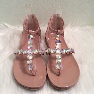 Kenneth Cole nude gladiator sandals with gemstones